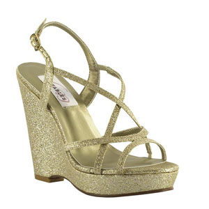 Dyeables Womens Dee Gold Glitter Glitter Sandals Prom and Evening Shoes