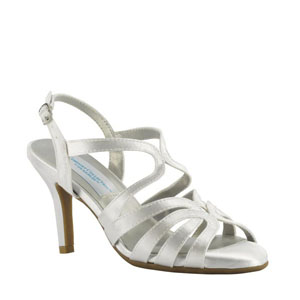 Dyeables Womens Paisley White Satin Sandals Wedding Shoes