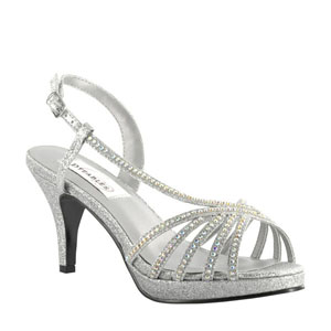 Dyeables Womens Alyssa Silver glitter Glitter Platforms Prom and Evening Shoes