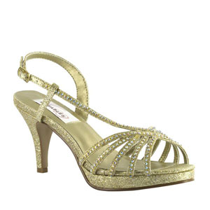 Dyeables Womens Alyssa Gold Glitter Glitter Platforms Prom and Evening Shoes