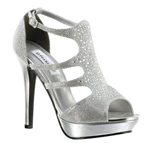 Dyeables Womens Irie Silver Shimmer Metalllic Platforms Prom and Evening Shoes