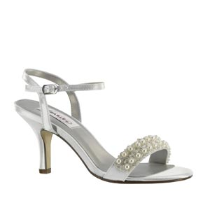 Dyeables Womens Anabelle White Satin Sandals Wedding Shoes