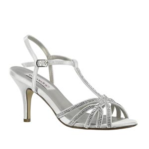 Dyeables Womens Lexi White Satin Sandals Wedding Shoes