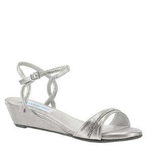 Dyeables Womens Mallory Silver Metalllic Sandals Prom and Evening Shoes