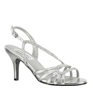 Dyeables Womens Caitlyn Silver glitter Glitter Sandals Prom and Evening Shoes