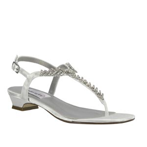 Dyeables Womens Sarah White Satin Sandals Wedding Shoes