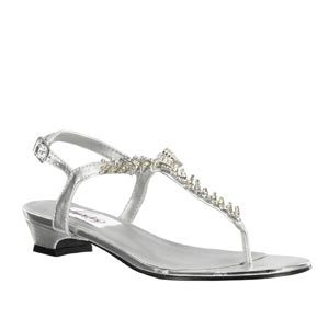 Dyeables Womens Sarah Silver Metalllic Sandals Prom and Evening Shoes