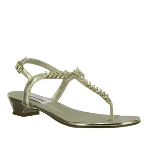 Dyeables Womens Sarah Gold Metalllic Sandals Prom and Evening Shoes