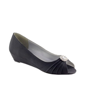 Dyeables Womens Anette Black Satin Pumps Wedding Shoes