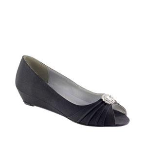 Dyeables Womens Anette Black Satin Pumps Wedding Shoes