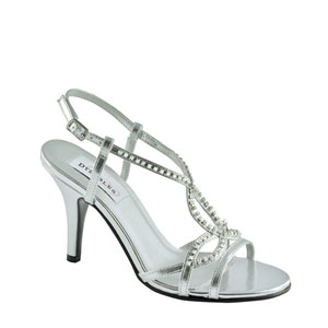 Dyeables Womens Elsa Silver Satin Sandals Prom and Evening Shoes