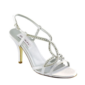 Dyeables Womens Elsa White Satin Sandals Prom and Evening Shoes