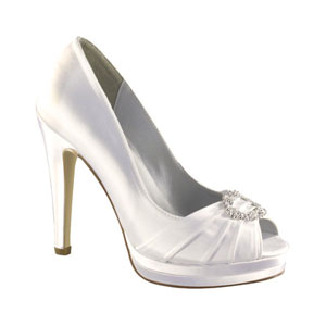 Dyeables Womens Gianna White Satin Platforms Wedding Shoes