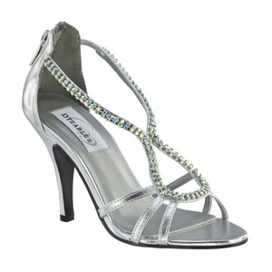 Dyeables Womens Josie Silver Metalllic Sandals Prom and Evening Shoes