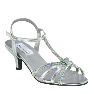 Dyeables Womens Lindsey Silver Metalllic Sandals Prom and Evening Shoes
