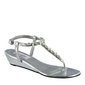 Dyeables Womens Myra Silver Metalllic Sandals Prom and Evening Shoes