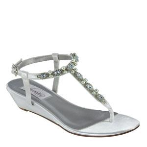 Dyeables Womens Myra White Satin Sandals Wedding Shoes