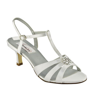 Dyeables Womens Opal White Satin Sandals Prom and Evening Shoes