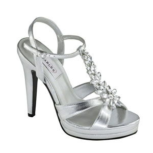 Dyeables Womens Ruby Silver Beaded Sandals Prom and Evening Shoes