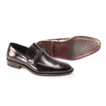 Giorgio Venturi Mens 6479 Black Leather Slip On Dress Shoes