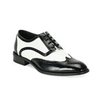 Giorgio Venturi Mens 6557 Black/White Leather Oxford Dress Shoes