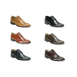 Giovanni Mens 6502 Chocolate Leather Wingtip Dress Shoes