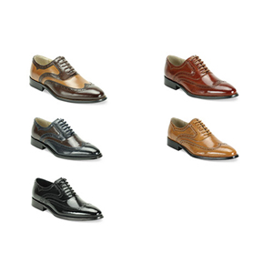 Giovanni Mens 6503 Chocolate Leather Wingtip Dress Shoes