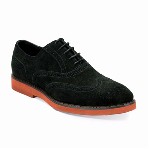 Giovanni Mens 6597 Black Suede Wingtip Dress Shoes