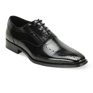 Giovanni Mens ALFO Black Leather Oxford Dress Shoes