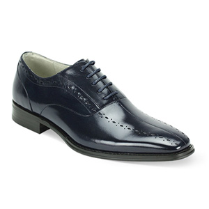 Giovanni Mens ALFO Navy Leather Oxford Dress Shoes