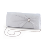 Dyeables Womens 1805 Silver Satin   Wedding Handbags