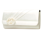 Touch Ups Womens Rosette White Silk Satin   Wedding Handbags