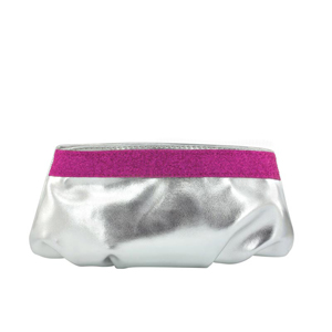 Touch Ups Womens Emily Silver/Fuchsia Synthetic   Evening and Prom Handbags