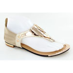 Helens Heart Womens CFW-1358 Gold Synthetic Sandals Casual Shoes