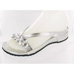 Helens Heart Womens CFW-318 Silver Beaded Sandals Casual Shoes