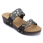 Helens Heart Womens CFW-C03 Black Beaded Sandals Casual Shoes