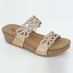 Helens Heart Womens CFW-C03 Gold Beaded Sandals Casual Shoes