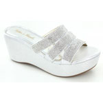 Helens Heart Womens CFW-C04 Silver Beaded Sandals Casual Shoes