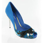 Helens Heart Womens FS-279-2 Blue Leather Pumps Prom and Evening Shoes