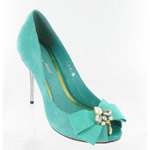 Helens Heart Womens FS-279-A1 Turquoise Leather Sandals Prom and Evening Shoes