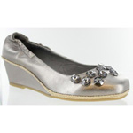 Helens Heart Womens FS-311-3 GunMetal Leather Wedge Prom and Evening Shoes