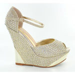 Helens Heart Womens FS-5223-36 Gold Beaded Wedge Prom and Evening Shoes