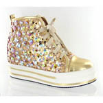Helens Heart Womens FS-TN001 Gold Sequin Sneakers Casual Shoes