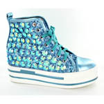 Helens Heart Womens FS-TN001 Turquoise Sequin Sneakers Casual Shoes