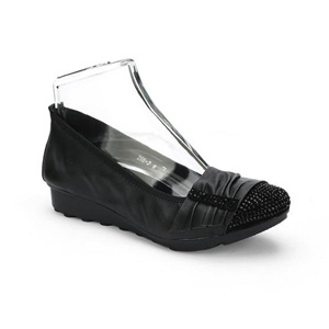 Helens Heart Womens CFW-266-2 Black Leather Ballet Casual Shoes
