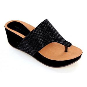Helens Heart Womens CFW-710-1 Black Beaded Thong Casual Shoes