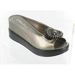 Helens Heart Womens CFW-8127-17 GunMetal Beaded Sandals Casual Shoes