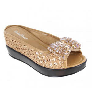 Helens Heart Womens CFW-8127-20 Gold Sequin Sandals Casual Shoes