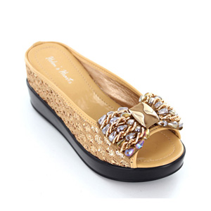 Helens Heart Womens CFW-8127-21 Gold Beaded Wedge Casual Shoes