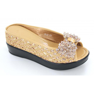 Helens Heart Womens CFW-8127-25 Gold Beaded Wedge Casual Shoes